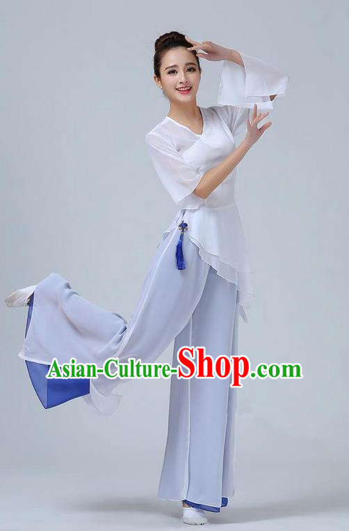 Traditional Chinese Yangge Fan Dancing Costume, Folk Dance Yangko Mandarin Sleeve Dress and Pants Uniforms, Classic Umbrella Lotus Dance Elegant Dress Drum Dance Clothing for Women