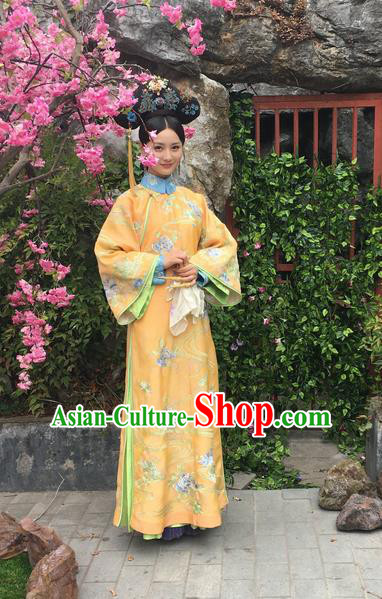 Traditional Ancient Chinese Imperial Empress Costume, Chinese Qing Dynasty Manchu Palace Queen Dress, Chinese Legend of Dragon Ball Mandarin Fermale Robes, Ancient China Imperial Concubine Embroidered Clothing for Women