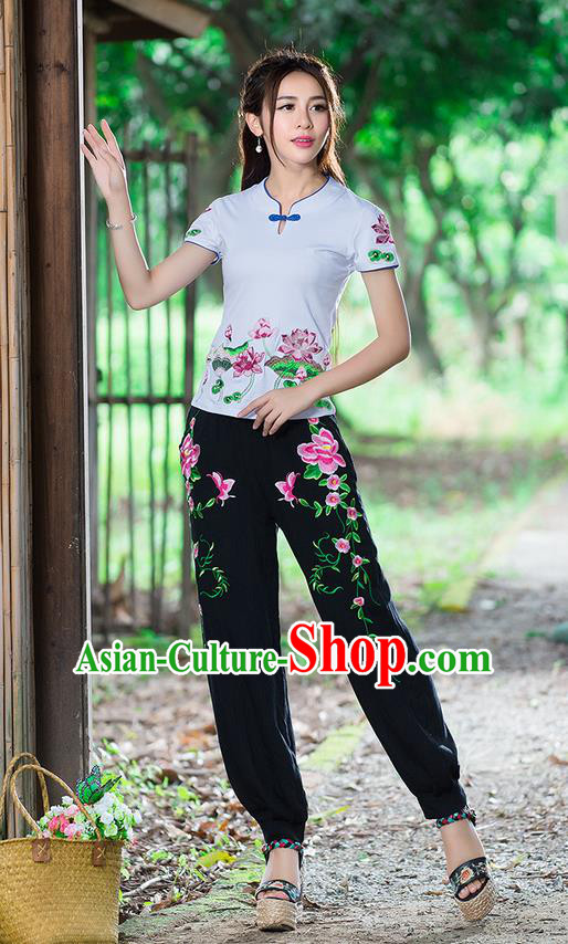 Traditional Ancient Chinese National Costume Plus Fours, Elegant Hanfu Embroidered Peony Pants, China Tang Suit Cotton Blue Bloomers for Women