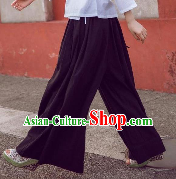 Traditional Ancient Chinese National Costume Loose Pants, Elegant Hanfu Pants, China Tang Suit Linen Black Wide Leg Pants for Women