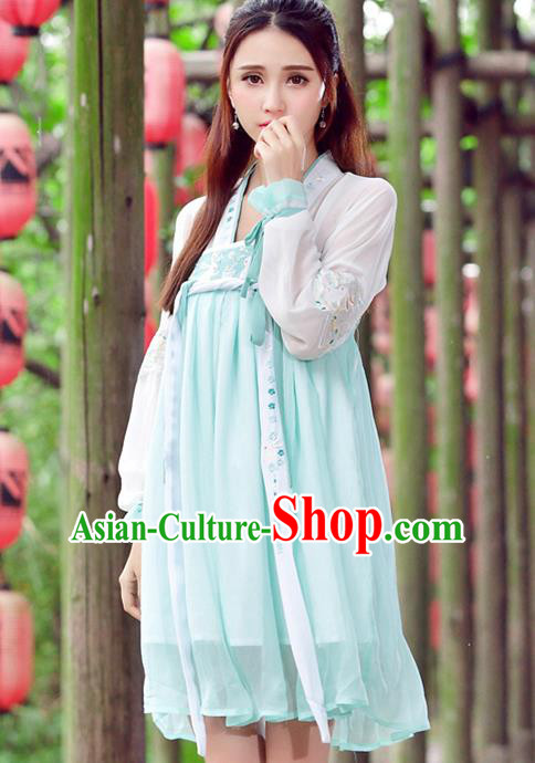 Traditional Ancient Chinese Ancient Costume, Elegant Hanfu Clothing Embroidered Blue Dress, China Tang Dynasty Blouse and Skirt Complete Set for Women