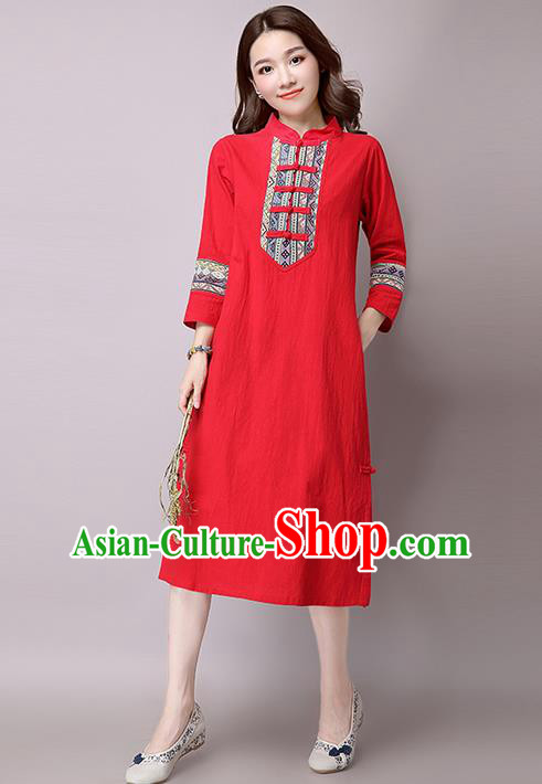 Traditional Ancient Chinese National Costume, Elegant Hanfu Stand Collar Embroidered Dress, China Tang Suit Mandarin Collar Cheongsam Upper Outer Garment Red Dress Clothing for Women