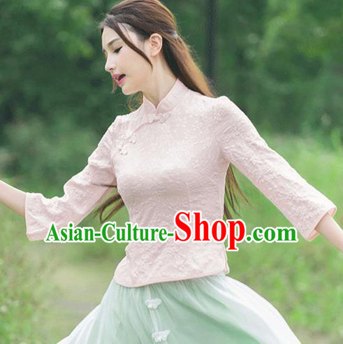 Traditional Ancient Chinese National Costume, Elegant Hanfu Embroidered Shirt, China Tang Suit Embroidered Butterfly Pink Blouse Cheongsam Upper Outer Garment Clothing for Women