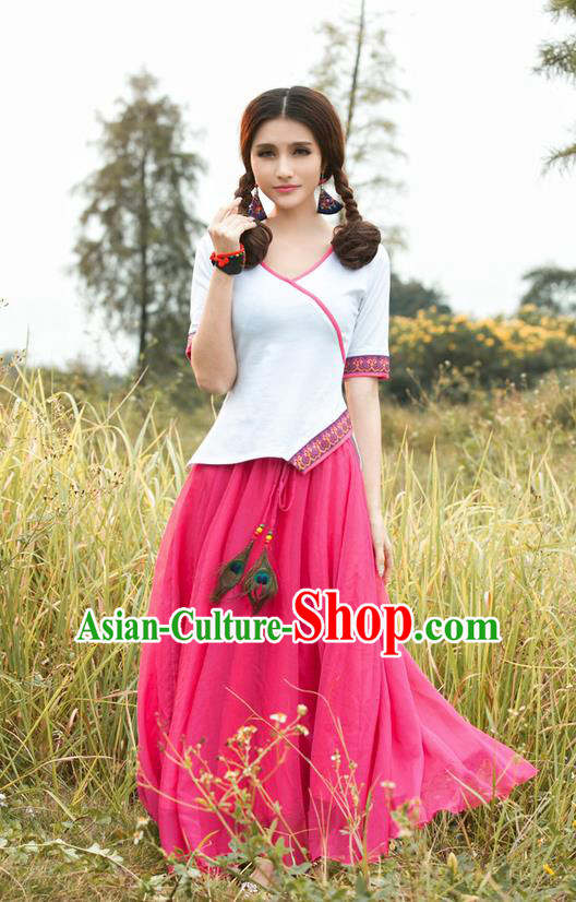 Traditional Ancient Chinese National Costume, Elegant Hanfu Shirt, China Tang Suit Irregularity White Blouse Cheongsam Upper Outer Garment Clothing for Women