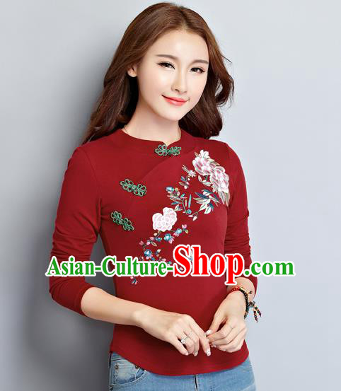 Traditional Ancient Chinese National Costume, Elegant Hanfu Embroidered Shirt, China Tang Suit Embroidered Peony Red Blouse Cheongsam Upper Outer Garment Clothing for Women