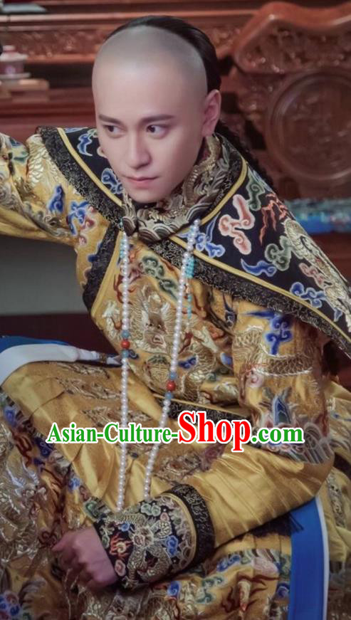 Traditional Ancient Chinese Imperial Emperor Costume, Chinese Qing Dynasty Manchu Majesty Dress, Chinese Legend of Dragon Ball Mandarin King Dragon Robes, Ancient China Imperial Padishah Embroidered Clothing for Men
