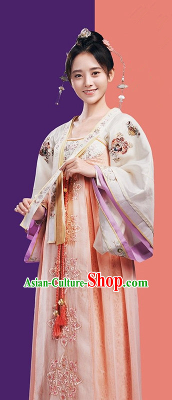 Traditional Ancient Chinese Imperial Princess Costume, Chinese Television Drama Detective Samoyeds Palace Lady Elegant Hanfu Dress, Chinese Tang Dynasty Imperial Aristocratic Lady Tailing Embroidered Clothing for Women