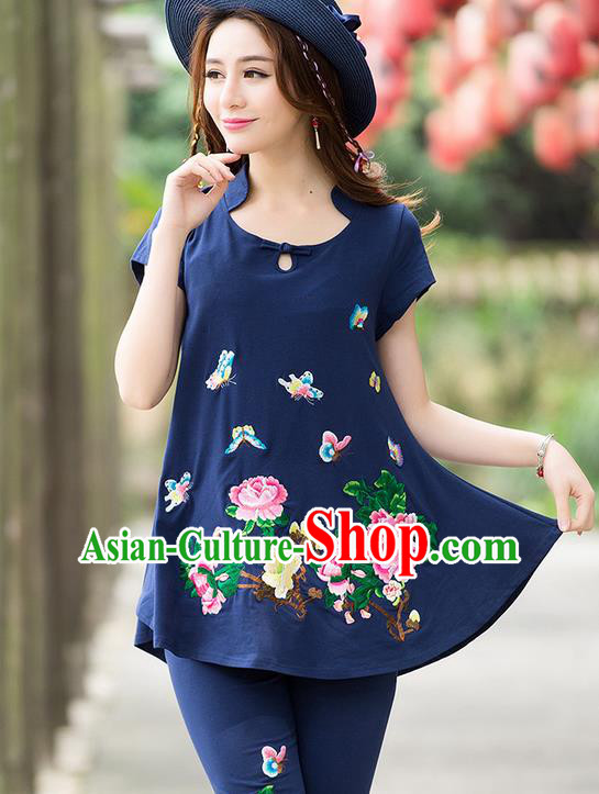 Traditional Ancient Chinese National Costume, Elegant Hanfu Embroidered T-Shirt and Pants, China Tang Suit Embroidered Butterfly Navy Blouse Cheongsam Upper Outer Garment Clothing for Women