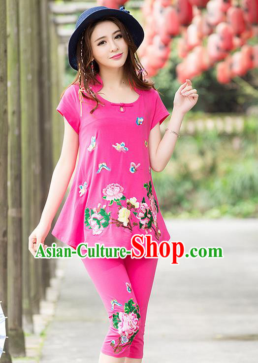 Traditional Ancient Chinese National Costume, Elegant Hanfu Embroidered T-Shirt and Pants, China Tang Suit Embroidered Butterfly Pink Blouse Cheongsam Upper Outer Garment Clothing for Women