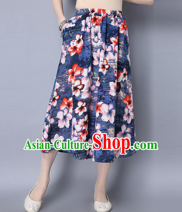 Traditional Ancient Chinese National Pleated Skirt Costume, Elegant Hanfu Printing Big Swing Long Dress, China Tang Suit Cotton Navy Bust Skirt for Women