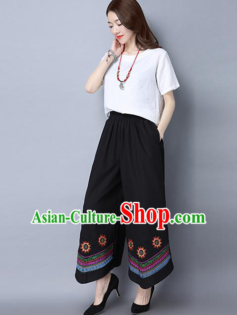Traditional Ancient Chinese National Costume Loose Pants, Elegant Hanfu Pants, China Tang Suit Linen Black Embroidered Wide Leg Pants for Women
