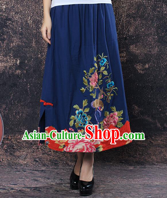 Traditional Ancient Chinese National Pleated Skirt Costume, Elegant Hanfu Embroidered Peony Big Swing Long Dress, China Tang Suit Cotton Navy Bust Skirt for Women