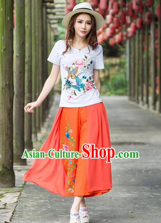 Traditional Ancient Chinese National Costume Loose Pants, Elegant Hanfu Embroidering Flower Jacinth Pants, China Tang Suit Linen Wide Leg Pants for Women