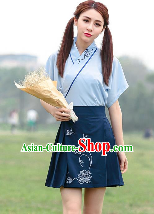 Traditional Ancient Chinese Ancient Costume, Elegant Hanfu Clothing Embroidered Blue Dress, China Tang Dynasty One-Piece Dress for Women
