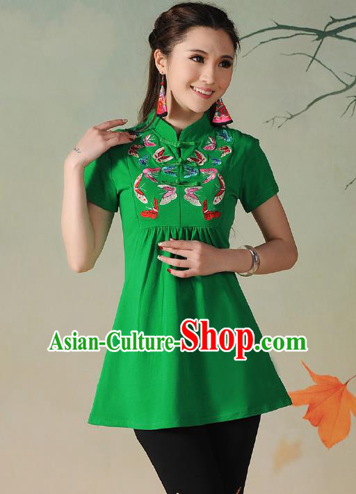 Traditional Ancient Chinese National Costume, Elegant Hanfu Embroidered Butterfly Stand Collar T-Shirt, China Tang Suit Green Blouse Cheongsam Upper Outer Garment Qipao Shirts Clothing for Women