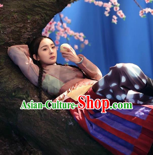 Traditional Ancient Chinese Elegant Costume, Chinese Han Dynasty Young Lady Dress, Cosplay Ten Great III of Peach Blossom Fairy Chinese Peri Hanfu Clothing for Women
