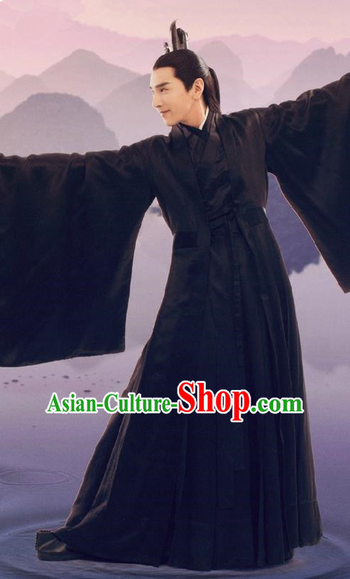 Traditional Ancient Chinese Elegant Swordsman Black Costume, Chinese Han Dynasty Male Prince Robe Dress, Cosplay Ten Great III of Peach Blossom Nobility Childe Ye hua Chinese Imperial Crown Prince Hanfu Clothing for Men