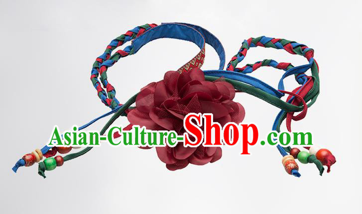 Traditional Chinese National Crafts Female Waistband, Handmade Red Flowers Embroidery Belt Accessories Pendant for Women