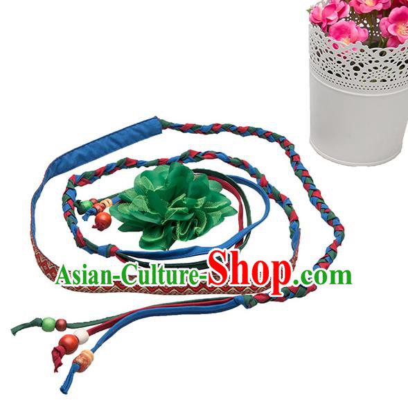 Traditional Chinese National Crafts Female Waistband, Handmade Green Flowers Embroidery Belt Accessories Pendant for Women