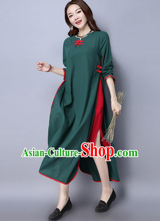 Traditional Ancient Chinese National Costume, Elegant Hanfu Linen Green Plated Buttons Dress, China Tang Suit Cheongsam Upper Outer Garment Elegant Dress Clothing for Women