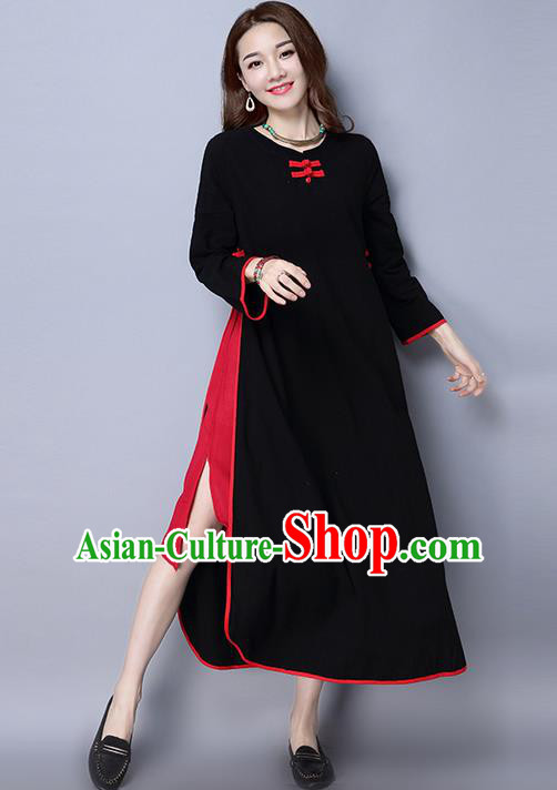 Traditional Ancient Chinese National Costume, Elegant Hanfu Linen Black Plated Buttons Dress, China Tang Suit Cheongsam Upper Outer Garment Elegant Dress Clothing for Women