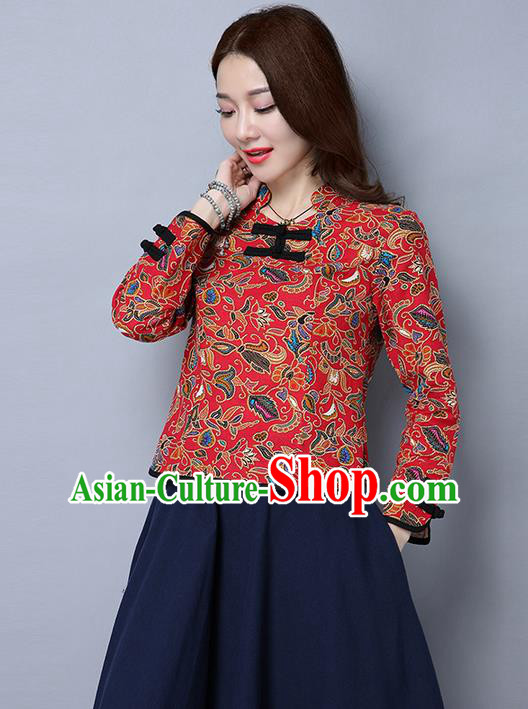 Traditional Ancient Chinese National Costume, Elegant Hanfu Plated Buttons Qipao Shirt, China Tang Suit Red Blouse Cheongsam Upper Outer Garment Shirts Clothing for Women