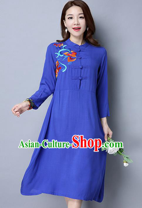 Traditional Ancient Chinese National Costume, Elegant Hanfu Linen Plated Buttons Blue Embroidery Dress, China Tang Suit Cheongsam Upper Outer Garment Elegant Dress Clothing for Women