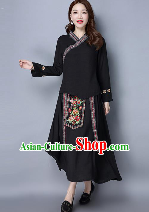 Traditional Ancient Chinese Ancient Costume, Elegant Hanfu Clothing Black Embroidered Blouse and Skirt, China Tang Dynasty Folk Dance Blouse and Skirt Complete Set for Women