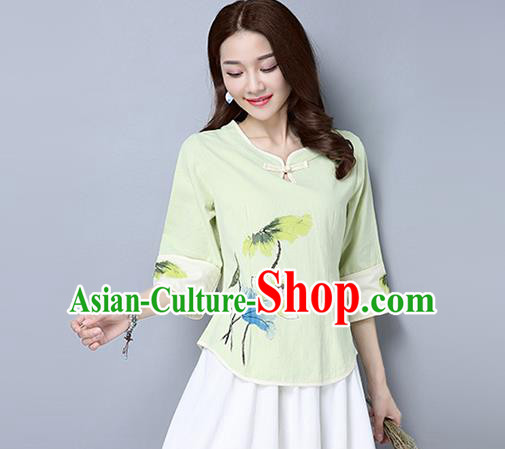 Traditional Ancient Chinese National Costume, Elegant Hanfu Painting Lotus T-Shirt, China Tang Suit Green Blouse Cheongsam Upper Outer Garment Qipao Shirts Clothing for Women