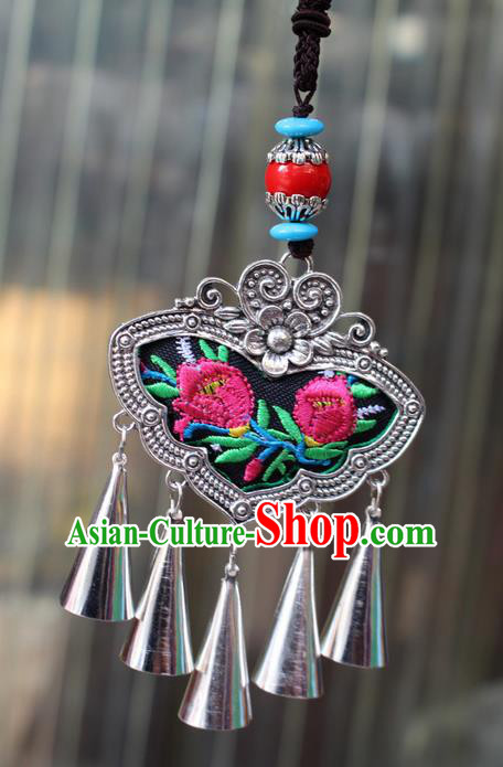 Traditional Chinese Miao Nationality Crafts Jewelry Accessory, Hmong Handmade Miao Silver Bells Tassel Double Side Embroidery Flowers Pendant, Miao Ethnic Minority Bells Black Rope Necklace Accessories Sweater Chain Pendant for Women
