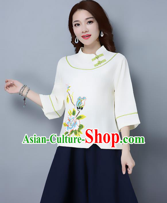 Traditional Ancient Chinese National Costume, Elegant Hanfu Stand Collar Plated Buttons Qipao T-Shirt, China Tang Suit Embroidered Beige Blouse Cheongsam Upper Outer Garment Shirts Clothing for Women