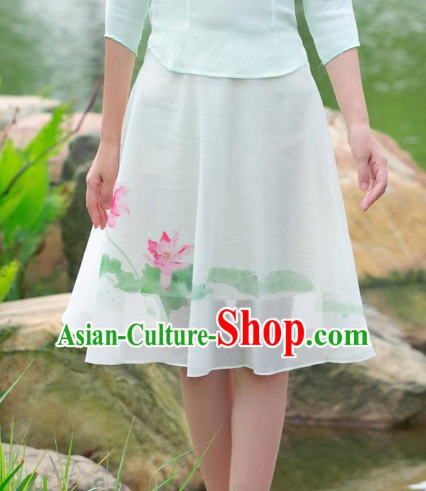 Traditional Ancient Chinese National Costume Pleated Skirt, Elegant Hanfu Printing Lotus Big Swing Short Dress, China Tang Suit Chiffon Bust Skirt for Women