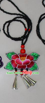 Traditional Chinese Miao Nationality Crafts Jewelry Accessory, Hmong Handmade Black Beads Bells Tassel Double Side Embroidery Lotus Pendant, Miao Ethnic Minority Bells Necklace Accessories Sweater Chain Pendant for Women