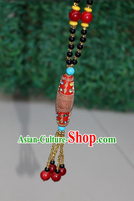 Traditional Chinese Miao Nationality Crafts Jewelry Accessory, Hmong Handmade Black Beads Tassel Red Pendant, Miao Ethnic Minority Necklace Accessories Sweater Chain Pendant for Women