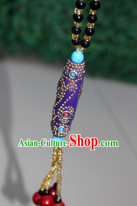 Traditional Chinese Miao Nationality Crafts Jewelry Accessory, Hmong Handmade Black Beads Tassel Purple Pendant, Miao Ethnic Minority Necklace Accessories Sweater Chain Pendant for Women