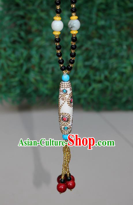 Traditional Chinese Miao Nationality Crafts Jewelry Accessory, Hmong Handmade Black Beads Tassel White Pendant, Miao Ethnic Minority Necklace Accessories Sweater Chain Pendant for Women