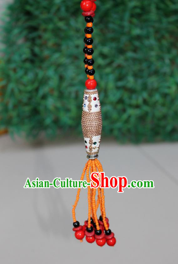 Traditional Chinese Miao Nationality Crafts Jewelry Accessory, Hmong Handmade Black Beads Tassel Yellow Pendant, Miao Ethnic Minority Necklace Accessories Sweater Chain Pendant for Women