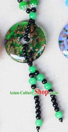 Traditional Chinese Miao Nationality Crafts Jewelry Accessory, Hmong Handmade Beads Tassel Green Pendant, Miao Ethnic Minority Necklace Accessories Sweater Chain Pendant for Women