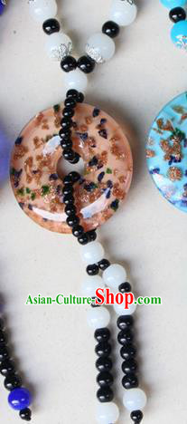 Traditional Chinese Miao Nationality Crafts Jewelry Accessory, Hmong Handmade White Beads Tassel Pendant, Miao Ethnic Minority Necklace Accessories Sweater Chain Pendant for Women
