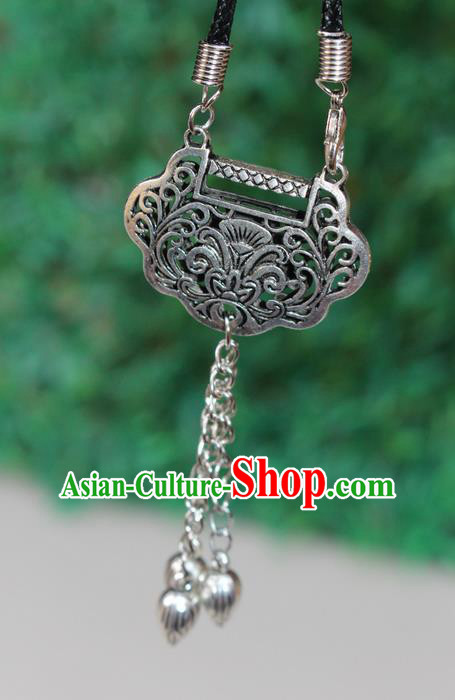 Traditional Chinese Miao Nationality Crafts Jewelry Accessory, Hmong Handmade Miao Silver Bells Tassel Longevity Lock Pendant, Miao Ethnic Minority Necklace Accessories Sweater Chain Pendant for Women