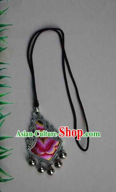 Traditional Chinese Miao Nationality Crafts Jewelry Accessory, Hmong Handmade Miao Silver Embroidery Bells Tassel Pendant, Miao Ethnic Minority Necklace Accessories Sweater Chain Pendant for Women