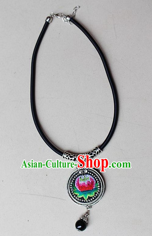 Traditional Chinese Miao Nationality Crafts Jewelry Accessory, Hmong Handmade Miao Silver Embroidery Bead Tassel Pendant, Miao Ethnic Minority Bells Necklace Accessories Sweater Chain Pendant for Women