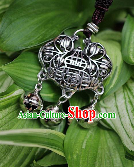 Traditional Chinese Miao Nationality Crafts Jewelry Accessory, Hmong Handmade Miao Silver Bells Tassel Longevity Lock Fortune Pendant, Miao Ethnic Minority Necklace Accessories Sweater Chain Pendant for Women
