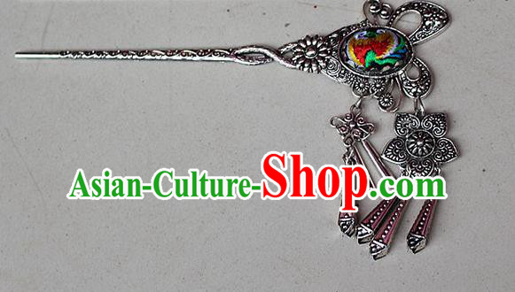 Traditional Chinese Miao Nationality Crafts Jewelry Accessory Classical Hair Accessories, Hmong Handmade Miao Silver Butterfly Palace Lady Tassel Embroidery Hair Sticks Hair Claw, Miao Ethnic Minority Hair Fascinators Hairpins for Women
