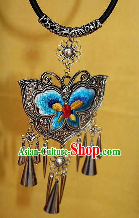 Traditional Chinese Miao Nationality Crafts Jewelry Accessory, Hmong Handmade Miao Silver Bells Tassel Embroidery Butterfly Pendant, Miao Ethnic Minority Bells Necklace Accessories Sweater Chain Pendant for Women
