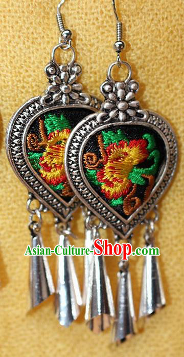 Traditional Chinese Miao Nationality Crafts Jewelry Accessory Classical Earbob Accessories, Hmong Handmade Miao Silver Embroidery Bells Tassel Palace Lady Earrings, Miao Ethnic Minority Eardrop for Women