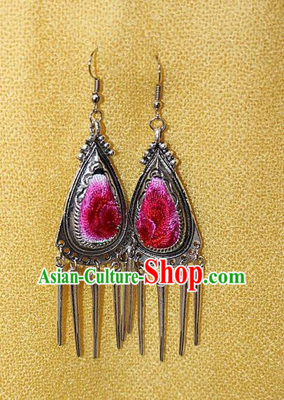 Traditional Chinese Miao Nationality Crafts Jewelry Accessory Classical Earbob Accessories, Hmong Handmade Miao Silver Embroidery Bells Tassel Palace Lady Triangle Earrings, Miao Ethnic Minority Eardrop for Women