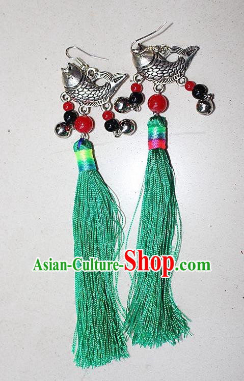 Traditional Chinese Miao Nationality Crafts Jewelry Accessory Classical Earbob Accessories, Hmong Handmade Miao Silver Fish Palace Lady Green Silk Tassel Earrings, Miao Ethnic Minority Eardrop for Women