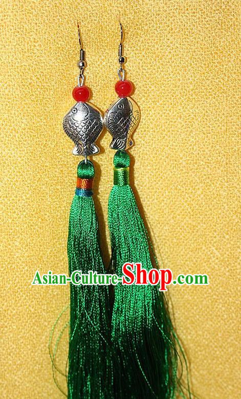 Traditional Chinese Miao Nationality Crafts Jewelry Accessory Classical Earbob Accessories, Hmong Handmade Miao Silver Kiss Fish Palace Lady Green Silk Tassel Earrings, Miao Ethnic Minority Eardrop for Women