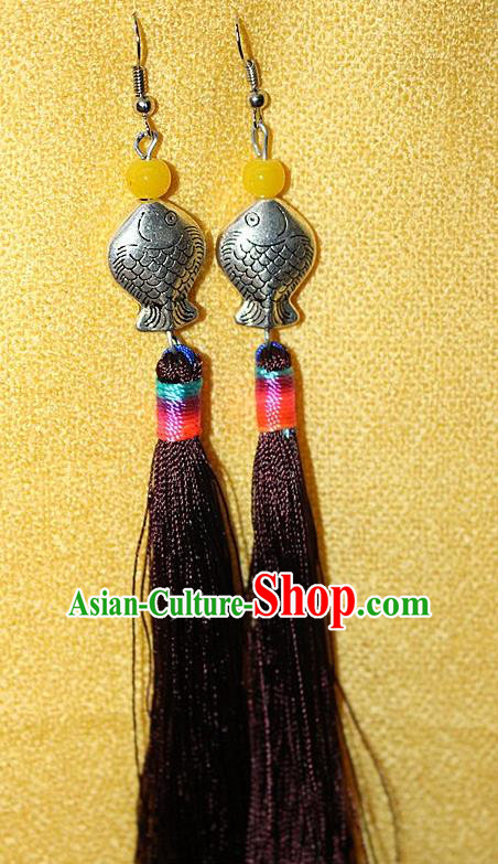 Traditional Chinese Miao Nationality Crafts Jewelry Accessory Classical Earbob Accessories, Hmong Handmade Miao Silver Kiss Fish Palace Lady Black Silk Tassel Earrings, Miao Ethnic Minority Eardrop for Women